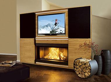 Multimedia fireplace di vok caminetto e televisione insieme